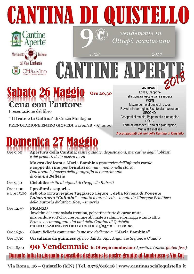 A Quistello il 26 e 27 maggio 2018 è tempo di Cantine Aperte